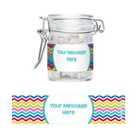 Multi Chevron Personalized Glass Apothecary Jars (12 Count)