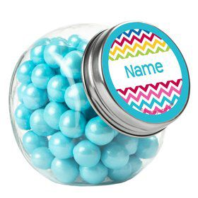 Multi Chevron Personalized Plain Glass Jars (12 Count)