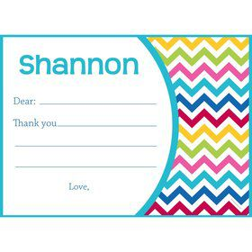 Multi Chevron Personalized Thank You Note (Each)