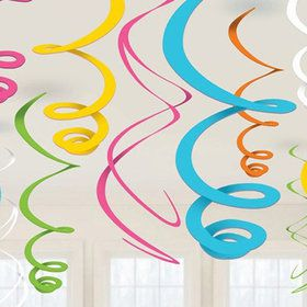 Multi-Color Plastic Swirl Decorations (12)