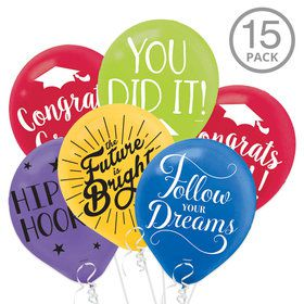 Multicolor Graduation Latex Balloons with Grad Sayings (15 Count)
