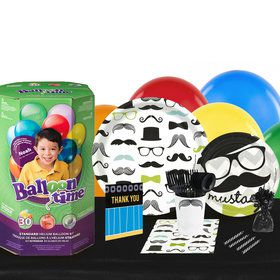 Mustache Man 16 Guest Kit with Tableware and Helium Kit