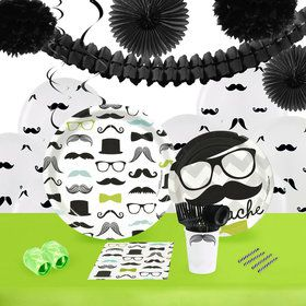 Mustache Man 16 Guest Tableware Deco Kit