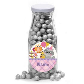 Nature Pink Personalized Glass Milk Bottles (12 Count)