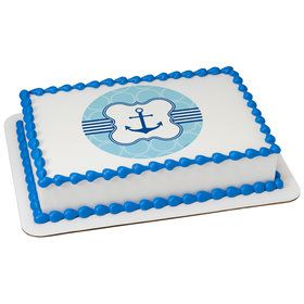 Nautical Anchor Quarter Sheet Edible Cake Topper (Each)