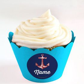 Nautical Personalized Cupcake Wrappers (Set of 24)