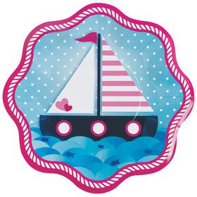 Nautical Pink Dinner Plates (8 Count)