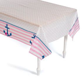 Nautical Pink Plastic Table Cover