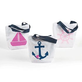 Nautical Pink Tote Bags (12 Count)