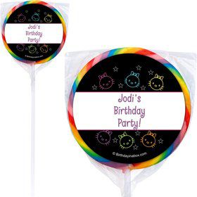 Neon Kitty Personalized Lollipops (Set of 12)