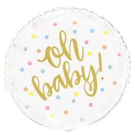 """Oh Baby"" Baby Shower 18"" Foil Balloon"