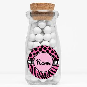 "Oh So Fabulous Personalized 4"" Glass Milk Jars (Set of 12)"