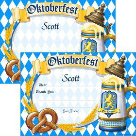 Oktoberfest Personalized Thank You Note (Each)