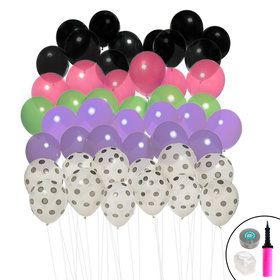 Ombre Balloon Kit (Black, Polka Dot, Purple, Lime Pink)