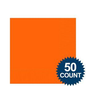 Orange 2-Ply Beverage Napkins, 50ct.