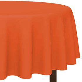 """Orange 84"""" Round Table Cover (Each)"""