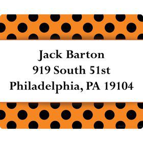 Orange and Black Dots Personalized Address Labels (Sheet of 15)