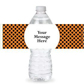 Orange and Black Dots Personalized Bottle Labels (Sheet of 4)