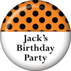 Orange and Black Dots Personalized Button (Each)