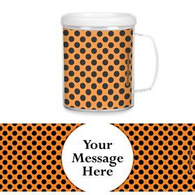 Orange and Black Dots Personalized Favor Mugs (Each)