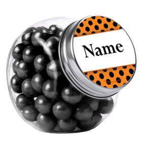 Orange And Black Dots Personalized Plain Glass Jars (10 Count)