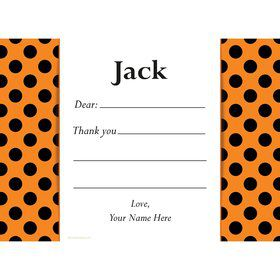 Orange and Black Dots Personalized Thank You Note (Each)
