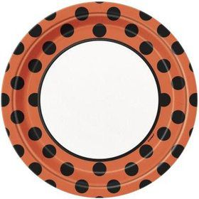 "Orange & Black 9"" Luncheon Plates (8 Pack)"