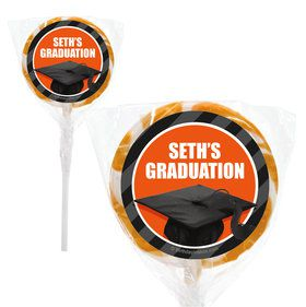 "Orange Caps Off Graduation Personalized 2"" Lollipops (20 Pack)"