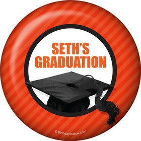 Orange Caps Off Graduation Personalized Button (Each)