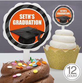 Orange Caps Off Graduation Personalized Cupcake Picks (12 Count)