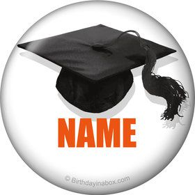 Orange Caps Off Graduation Personalized Mini Magnet (Each)