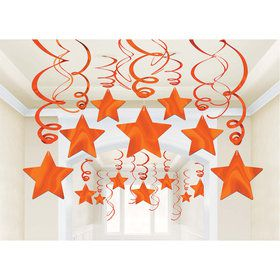 Orange Foil Star Hanging Decorations (30 Count)