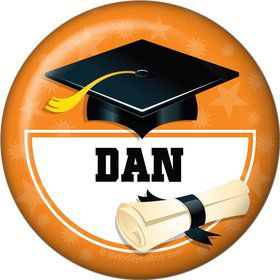 Orange Grad Personalized Button (Each)