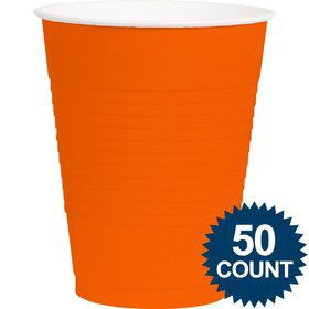Orange Plastic 16oz. Cup (50 Pack)
