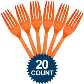 Orange Plastic Forks