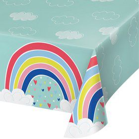"Over the Rainbow Plastic Tablecover 54"" x 102"" (1)"