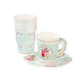 Paper Cup With Handle Saucers Set (12 Count)