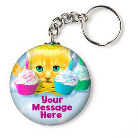 "Party Cats Personalized 2.25"" Key Chain (Each)"