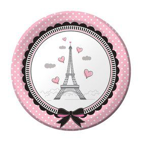 "Party In Paris 7 "" Cake Plate (8 Count)"