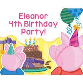 Party Pig Personalized Rectangular Stickers (Sheet of 15)