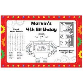 Party Robot Personalized Activity Mats (8-pack)