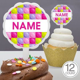Pastel Block Party Personalized Cupcake Picks (12 Count)