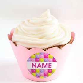 Pastel Block Party Personalized Cupcake Wrappers (Set of 24)