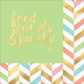 Pastel & Gold Herringbone Food, Friends, & Family Lunch Napkins (16)