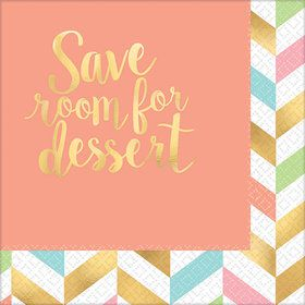 Pastel & Gold Herringbone Save Room for Dessert Beverage Napkins (16)