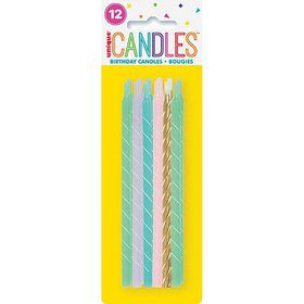 "Pastel Spiral Birthday Candles 5"" - Assorted 12ct"