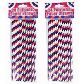 Patriotic Paper Straws (24 Count)