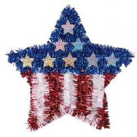 Patriotic Tinsel Star Decoration
