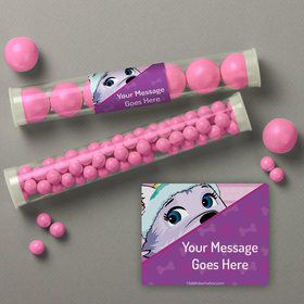 Paw Command Pink Personalized Candy Tubes (12 Count)