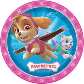 "Paw Patrol Pink 9"" Lunch Plate (8 Count)"